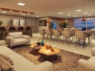 Salão de festa com espaço gourmet